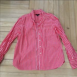 J. Crew Striped Coral Button Up Shirt Six Tall